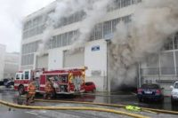 warehouse in fire